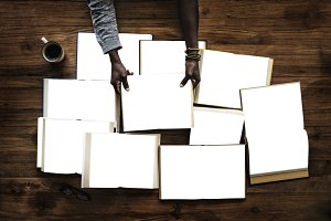 People Hands Hold Blank Books (PNG)