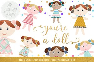 Cute Doll & Birthday Clipart Set
