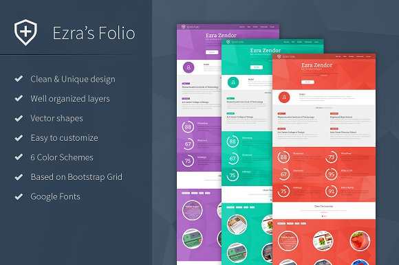 Ezra's Folio - Resume PSD Template - Resumes