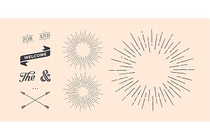 Set of sunburst, vintage graphic elements