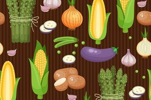 Asparagus, corn and peas pattern