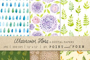 Watercolor Digital Paper Flora