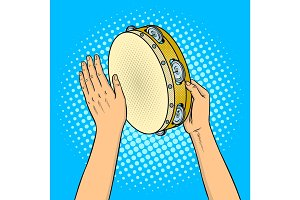 Hands with tambourine pop art vector illustration