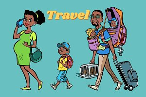 African family travelers, mom dad and kids