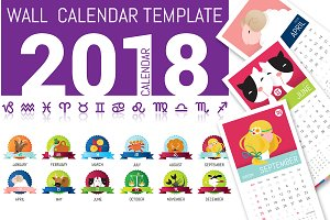 Cute Horoscope WallCalendar Template