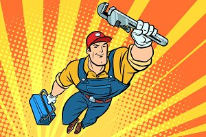 Worker plumber superhero flying