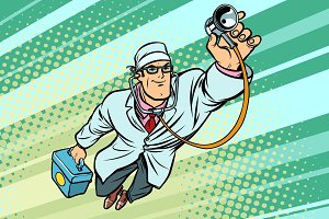 Doctor physician with stethoscope flying superhero