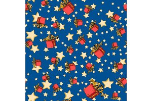 seamless background with red gift box and stars