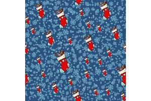 Christmas socks for gifts, seamless pattern