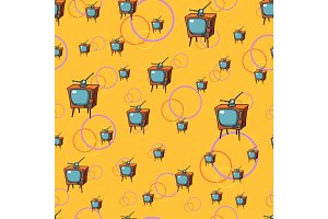 TV retro seamless pattern