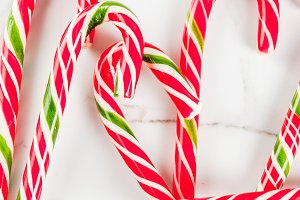 Background with candy cane sweets