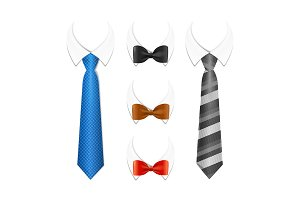 3d Tuxedo Tie, Bow and Shirt Set