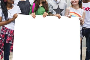 teenagers holding banner (PNG)