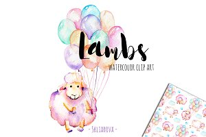 Lambs. Watercolor clipart