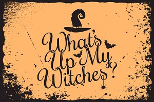 halloween vintage lettering witches