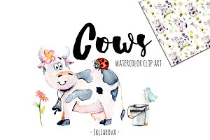 Cows. Watercolor clipart