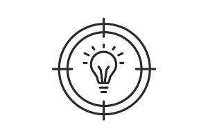 Aim on light bulb linear icon