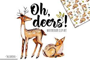 Deers. Watercolor clipart