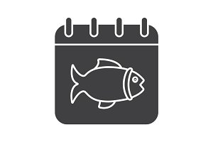 Fishing day glyph icon