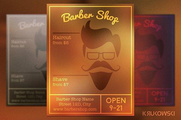 barber shop hipster flyer flyer templates on creative market. Black Bedroom Furniture Sets. Home Design Ideas