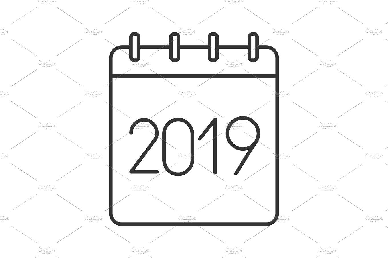 2019 annual calendar linear icon ~ Icons ~ Creative Market