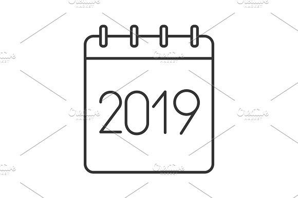 2019 annual calendar linear icon icons