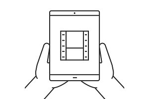 Hands holding tablet computer linear icon