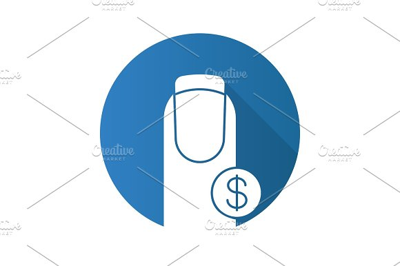 Nail salon prices flat design long shadow glyph icon
