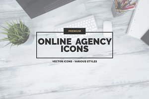 25 Online Agency Icons in 3 styles