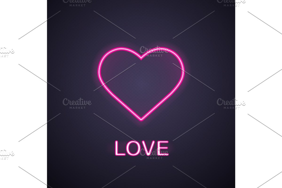 Heart neon light icon