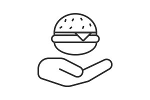 Open hand with hamburger linear icon