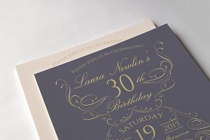 Elegant birthday invitations
