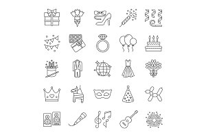Holiday accessories linear icons set