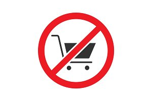Forbidden sign with shopping cart glyph icon