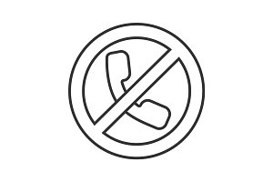 Forbidden sign with handset linear icon