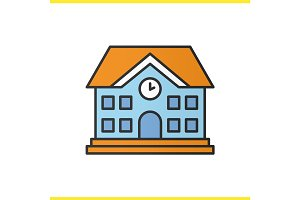 School building color icon