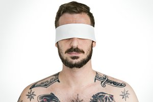 Man Eye Covered Blind Forbidden(PNG)