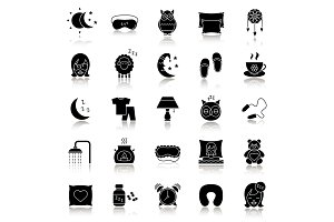 Sleeping accessories drop shadow black glyph icons set