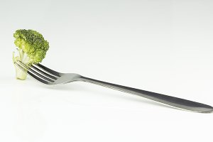 Broccoli with fork