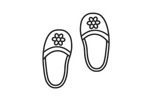 Bedroom slippers linear icon