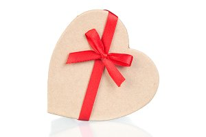 Beautiful gift with heart shape