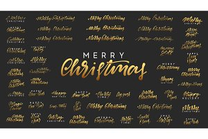 Merry Christmas and Happy New Year, golden text calligraphy