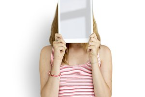 Woman Digital Tablet Face (PNG)