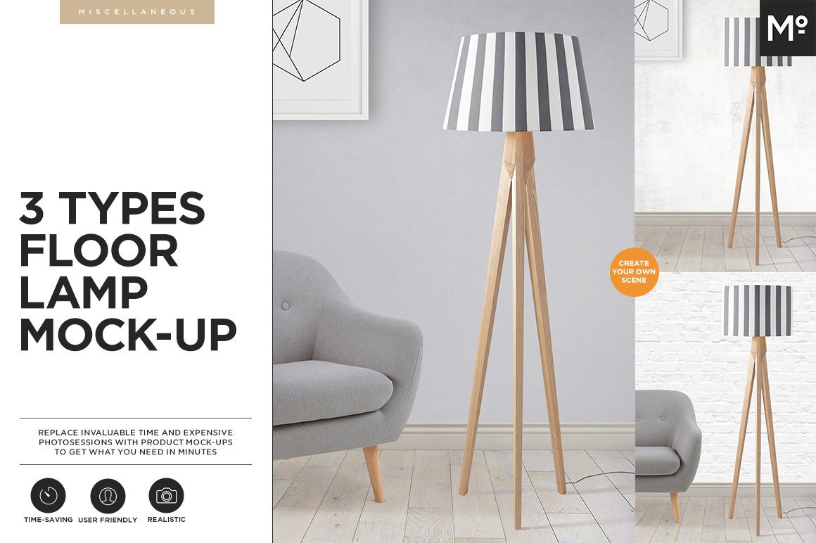 3 types floor lamp mock up product mockups creative market aloadofball Choice Image