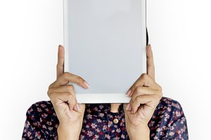 Person Holding Tablet Face (PNG)