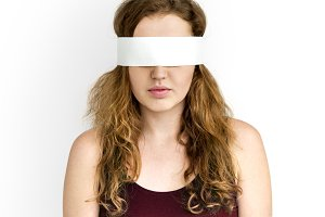 Woman Eye Covered Blind (PNG)