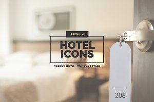 30 Hotel Icons in 3 styles