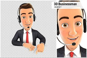 3D Businessman Headset Empty Wall