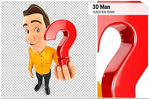 3D Man Holding a Question Mark Icon
