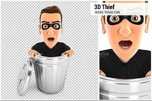 3D Thief Inside Trash Can